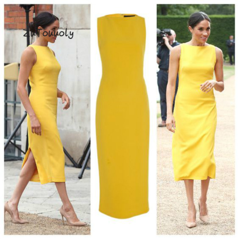 Meghan Markle's Style Yellow   Evening     Dress   Column Sleeveless Midi Formal Prom Dreses Back Slits Cheap   Evening   Party Gown 2018