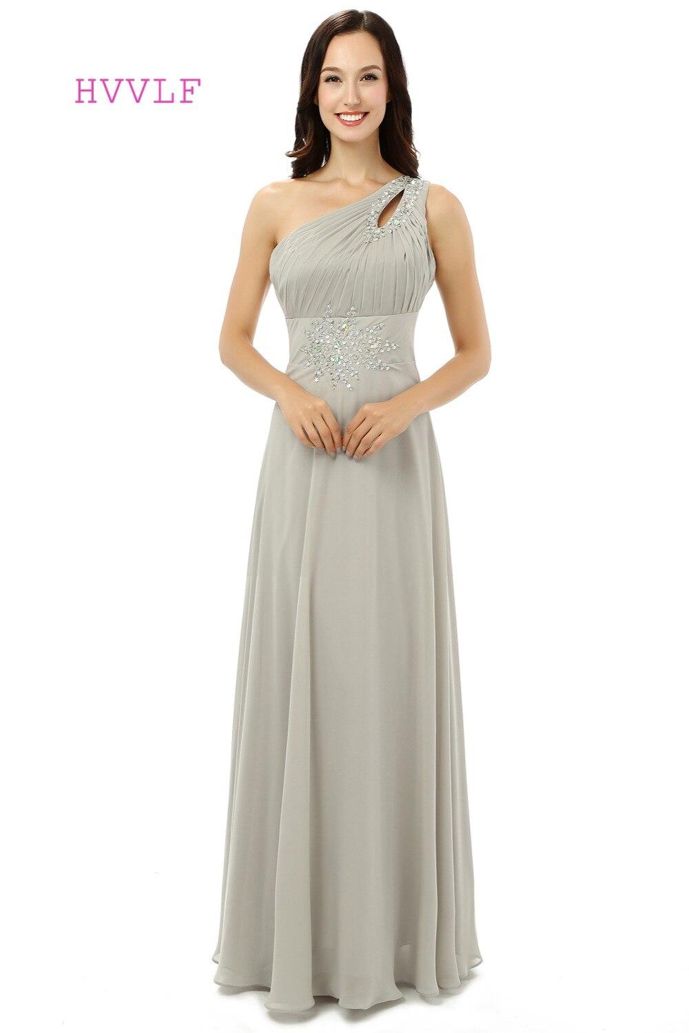 Robes de soirée de maternité 2019 a-ligne une épaule en mousseline de soie perles cristaux femmes formelle longue robe de soirée robe de bal robe de bal