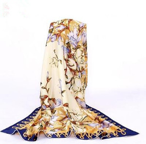 Image 3 - 100% シルクフラワースカーフソフトブランドスカーフパシュミナ高品質