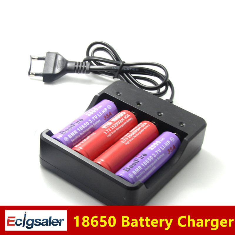 Electronic Cigarette 18650 Battery EU US Plug 4 Slots Intelligent Battery Charger For 4X 18650 lithium-ion Rechargeable Battery