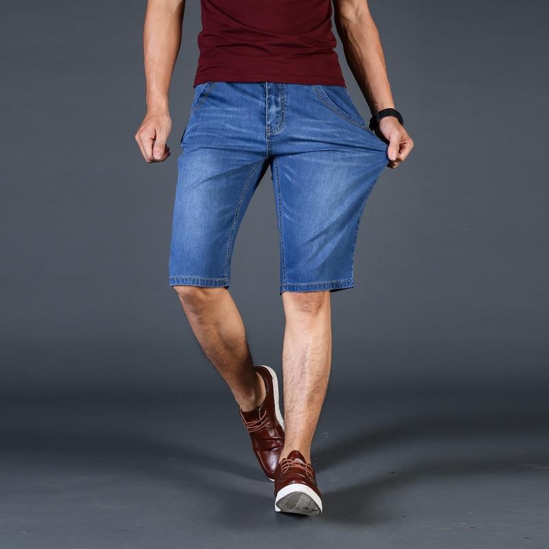 Летняя мода шить Короткие джинсы бренд Повседневное тонкие обтягивающие джинсы Для мужчин темно-синий мужской Slim Fit Короткие джинсы Для муж... ...