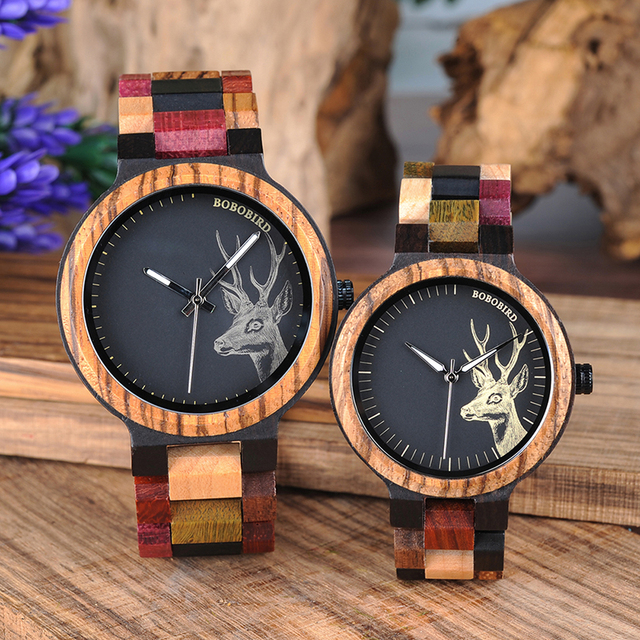 BOBO BIRD Couple Wooden Watches Men Women Quartz Lover's Wrist watch Ladies Elk