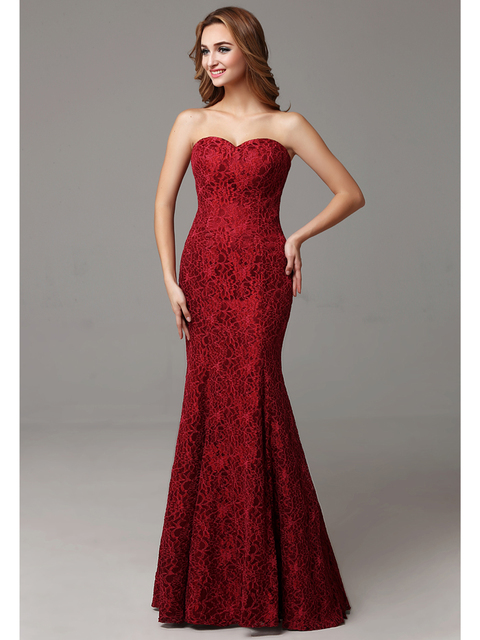 b3f3718ca71 2017 New Long Mermaid Simple Dark Red Burgundy Adult Lace Bridesmaid  Dresses Sweetheart Formal Maid of