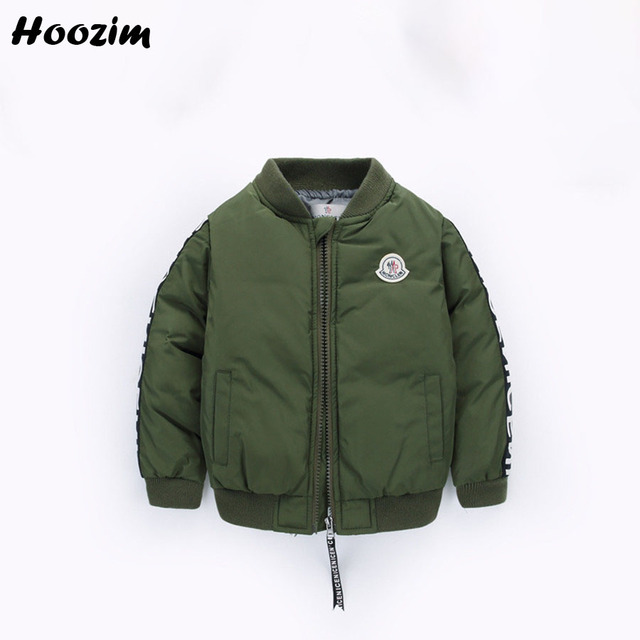 Baby Parka Autumn European Army Green Quilted Jackets For Boys Fashion Letter Cotton Padded Bomber Jacket Kids Winter Boys Coat