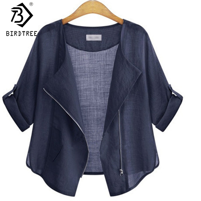 Fashion 2017 Spring Summer Female Sunscreen Coat Casual Pink Navy Preppy Style Zipper Short Thin Jacket Coats Hot Sale C7N023A