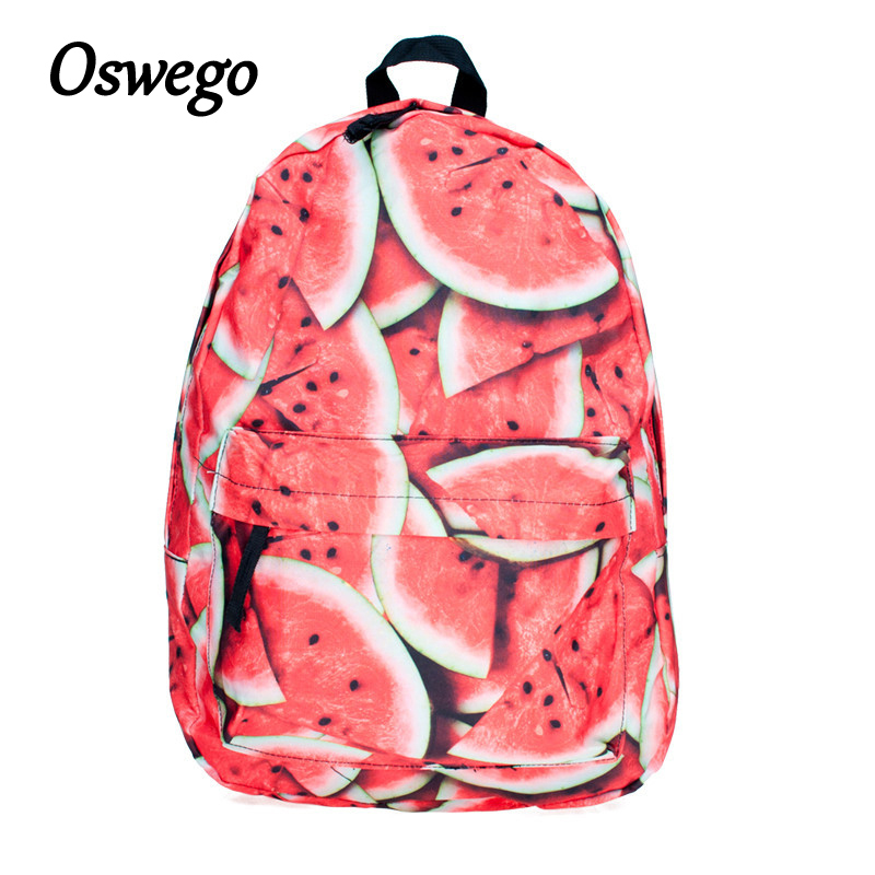 Oswego Canvas Backpack Fruit 3D Printing Women Zipper Softback Travel School Bag Daily Backpack for Teenager Girls Bags for 2018 tangimp drawstring backpacks embroidery dear my universe cherry rocket printing canvas softback man women harajuku bags 2018