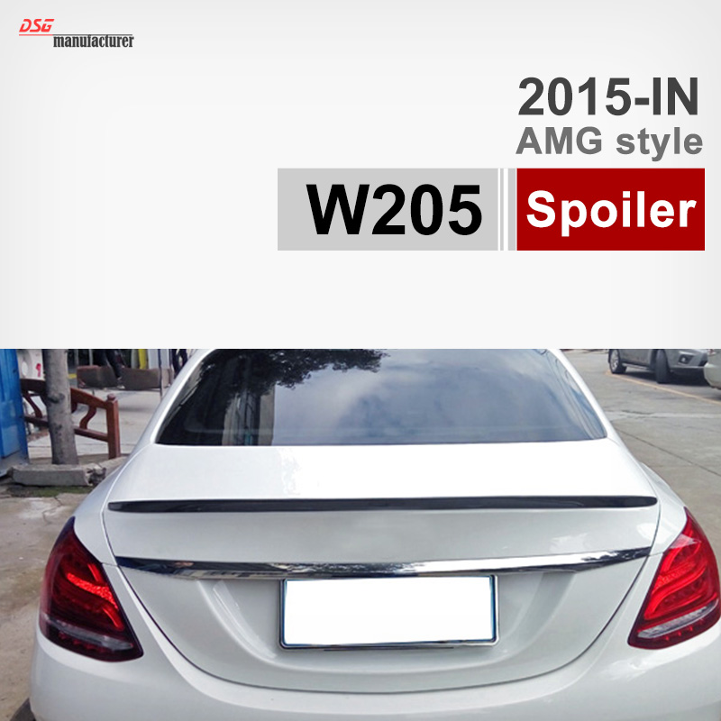 Mercedes W205 Carbon Fiber Trunk Spoiler Car Wing for Benz C Class 4-door Sedan 2015+ C180 C200 C220 C250 C300 Black 2 x t10 led w5w canbus car side parking light bulbs with projector lens for mercedes benz c250 c300 e350 e550 ml550 r320 r350