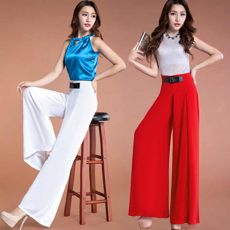 Womens Fashion Chiffon Pants Pleated Wide Leg High Waist Loose Summer Pants Ladies Elegant Straight Thin Plus Big Size Trousers