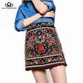 2016 autumn new women's ethnic flower floral embroidery A-Line empire skirt