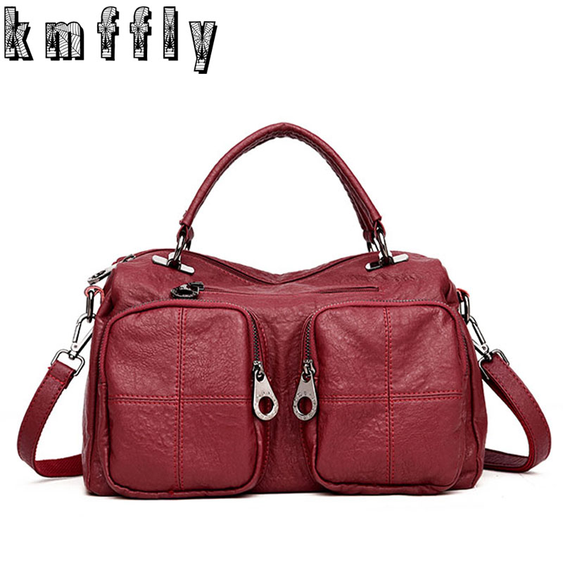 2017 Fashion Double Pocket Shoulder Bags Luxury Designer Woman Handbag Vintage Soft Sheepskin Women Leather Handbags Sac a Main luxury handbags women bags designer brands women shoulder bag fashion vintage leather handbag sac a main femme de marque a0296