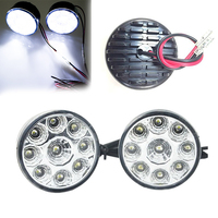 2PCs Waterproof 9 LED Car DRL Daytime Running Fog Light Super Bright Anti Shock Round Head