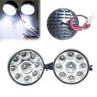 2PCs Waterproof 9 LED Car DRL Daytime Running Fog Light Super Bright Anti Shock Round Head