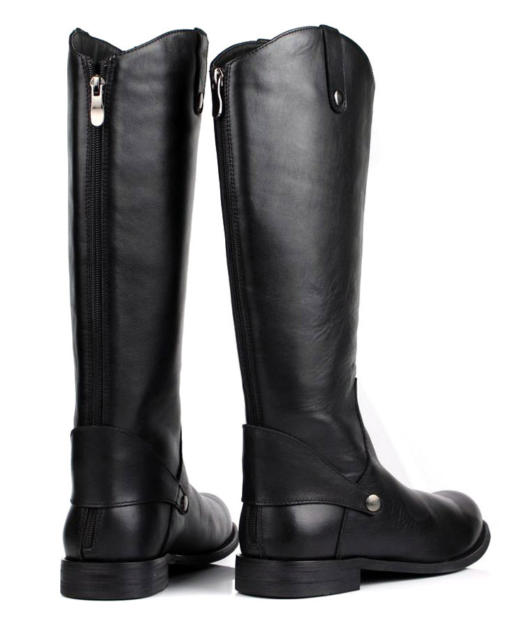Large size 2017 fashion black knee high mens boots genuine leather ...