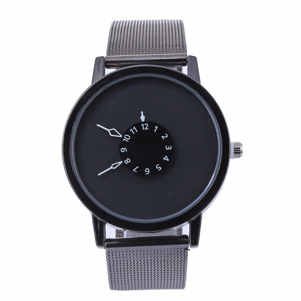 New fashion women men quartz creative watch simple unique students watch face design mesh band wristwatch