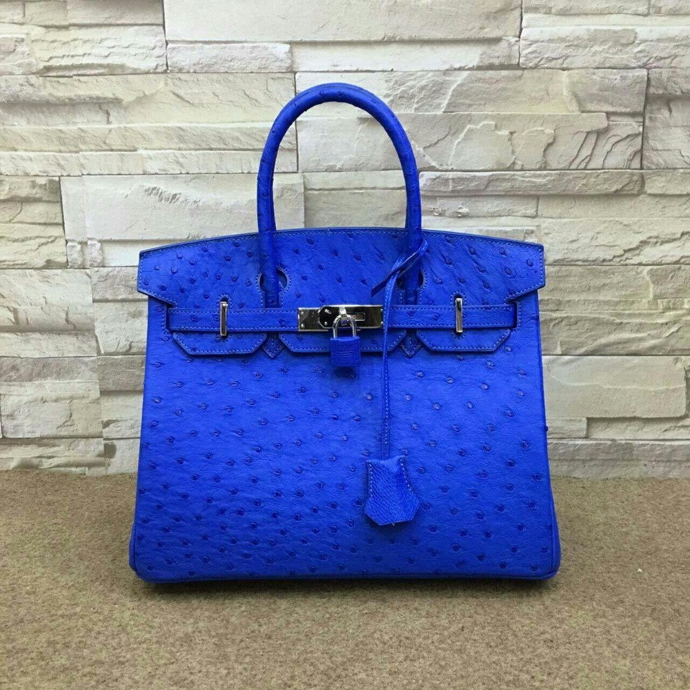 Higher Quality South Africa Ostrich Skin Women Tote Handbag Top Handle Lady Bag Deep Colors In Bags From Luggage On