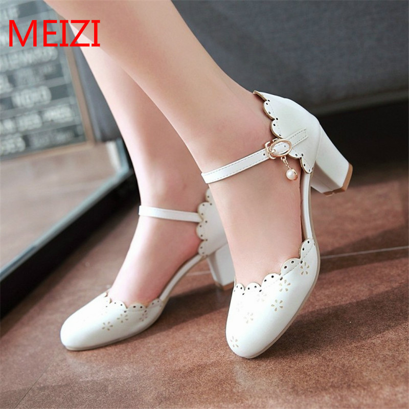 Women's Sandals 2017 Summer Fashion Sweet lolita Mary Jane Pumps Pink white Pearl High heels Female Casual plus size Shoes 34-43 цена 2017