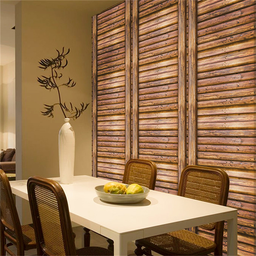 3d wall brick wood rustic effect self adhesive modern - Wood effect wallpaper living room ...