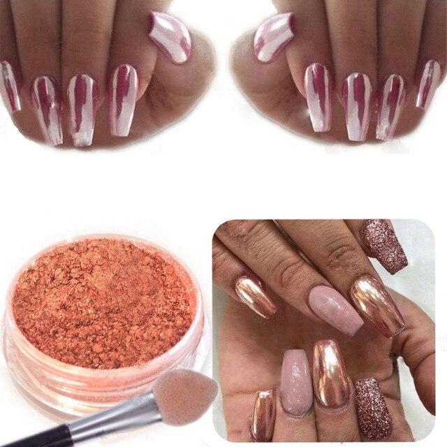 Polvo de espejo de uñas de oro rosa Sexy brillo polvo de cromo decoración de arte belleza polvo DIY pigmento de cromo para uñas