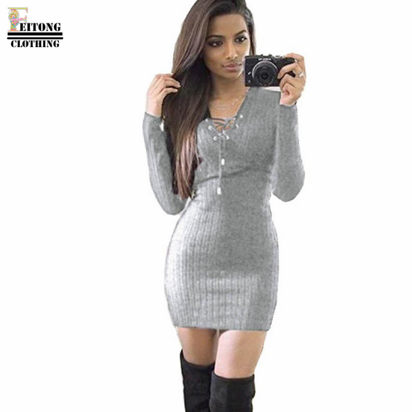 Women knitted winter autumn dress sexy solid v-neck bandage mini dress long sleeve knitted bodycon sweater dress#lrew