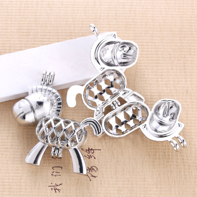6pcs Bright Silver horse Pearl Cage Jewelry Making Supplies Alloy Beads Cage Pendant Essential Oil Diffuser Trendy Locket