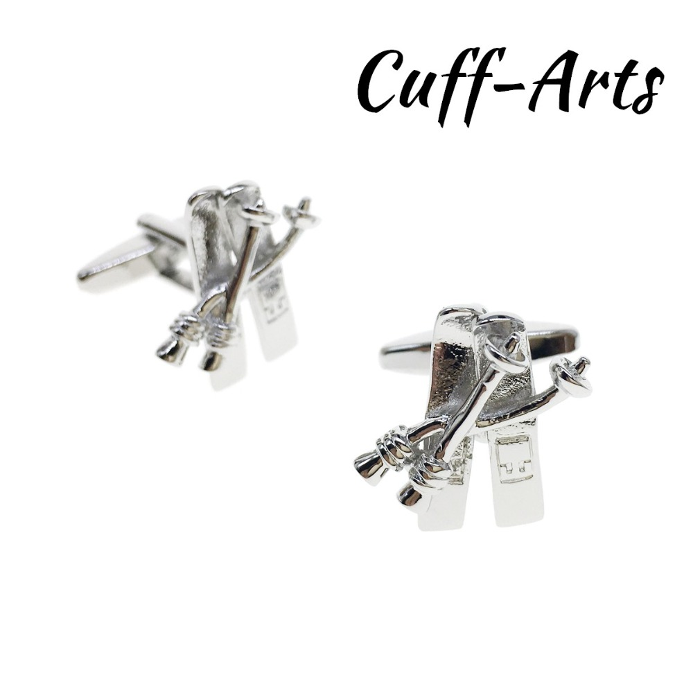 Cufflinks for Men Skis and Poles Skiing Mens Cuff Jewelery Gifts Vintage by Cuffarts C10293