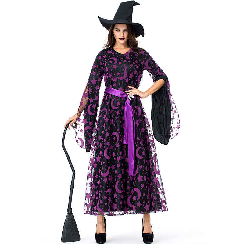 Umorden Women's Purple Star Moon Witch Sorceress Costume Long Dress Halloween Classic Witches Costumes Cosplay
