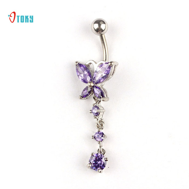 Us 2 76 Otoky Dropship Sexy Crystal Butterfly Dangle Ball Navel Ring Pink White Purple Woman Belly Piercing Barbell Fashion Body Jewelry On
