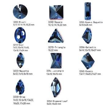 Diferentes formas cristal zafiro estrás par coser gema Diamante de imitación Diamante recortes de costura espejo Decoración