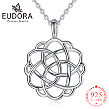 Eudora 925 Sterling Silver Celtics Knot Rose Flower Pendant Necklaces Sterling-silver Jewelry for Women Girls Romantic Gift D98 eudora unique design 925 sterling silver celtics knot love pendant necklaces fashion women jewelry party wedding gift ksyd200
