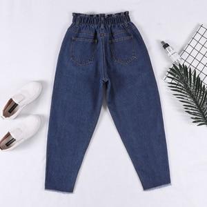 Image 2 - Genayooa Pencil Jeans 여성 플러스 사이즈 여성용 하이 웨이스트 보이 프렌드 청바지 신축성있는 허리 바지 루즈 한 빅 사이즈 청바지 여성