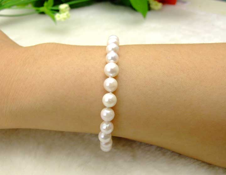 Great AAA 6-7mm natural Round AKOYA Saltwater Pearl bracelet Sterling Silver S925 clasp-bra141 Wholesale/retail Free shipping цена и фото