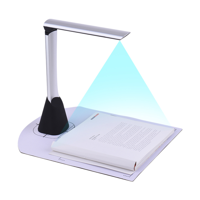 Portable USB Book Image Document Camera Scanner 5 MP HD Max. A4 Scanning Size OCR Function LED Light for Office Library Bank