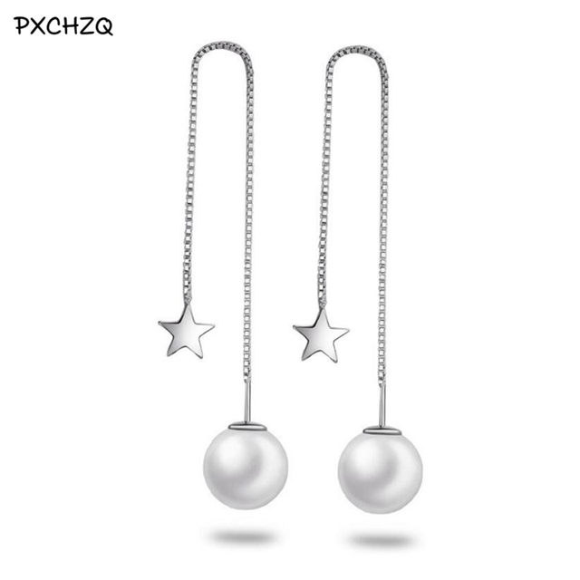 Ms New Simple And Stylish Silver Colour Products Tel Earrings Long Section Of Elegant Star Pentagram 10mm