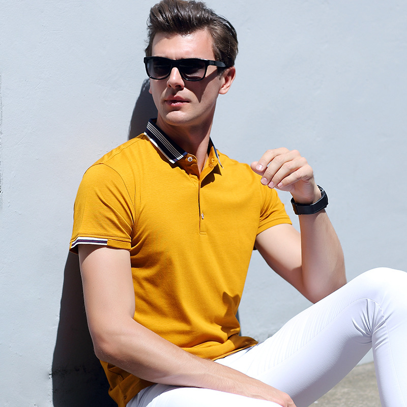 Men's Casual Pure Color shirt Summer Men Fashion Youth   Polo   Shirt Male Short Sleeve Slim Shirts
