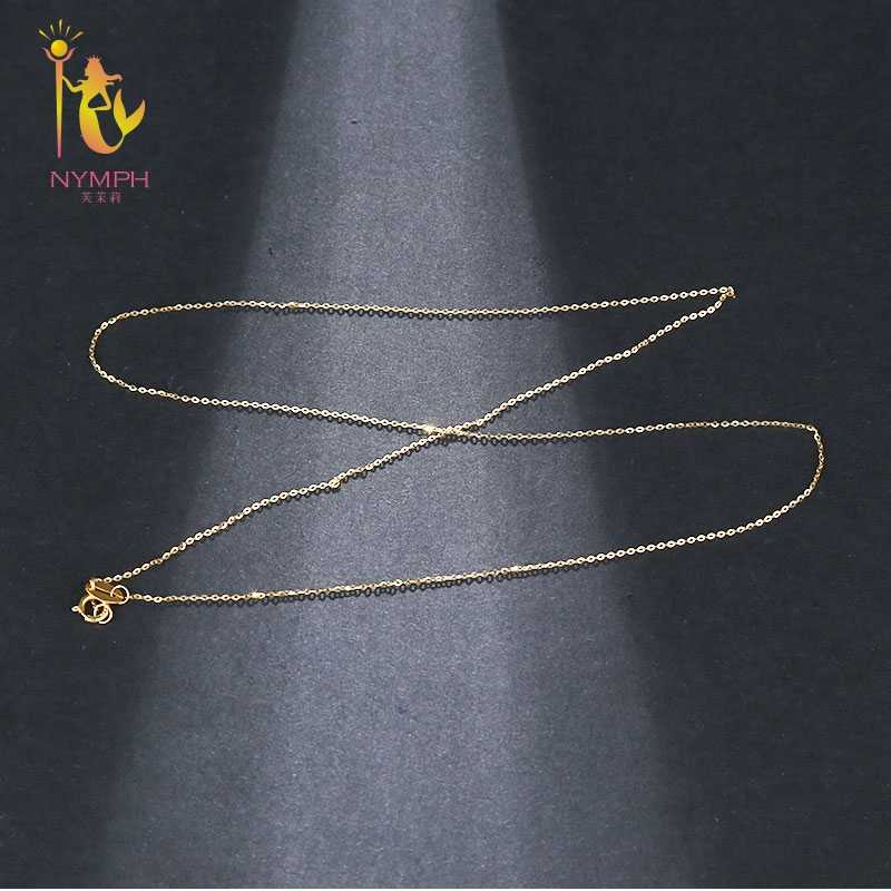 NYMPH Genuine 18K White Yellow Gold Chain 18 inches au750 Cost Price Necklace Pendant Wendding Party Gift For Women[G1002]