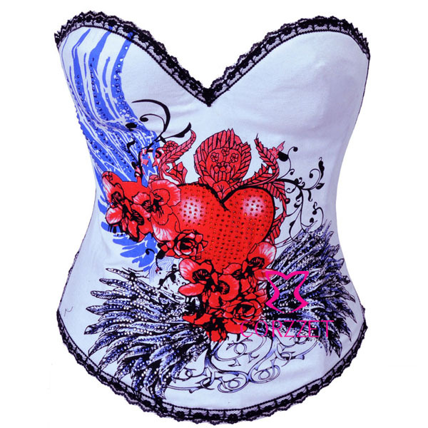 e0f3044511 2269  Sexy Floral Heart Print Overbust Gothic Corpete Seetheart Underwire  Cup Cotton Corset