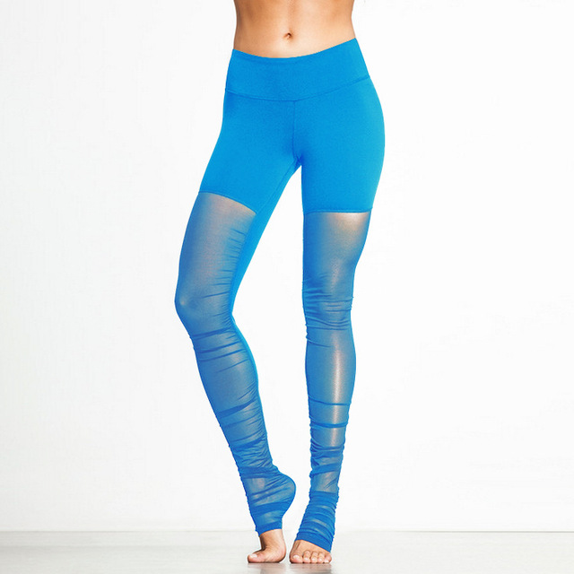 c2c056862b38a JIGERJOGER Women's Yoga Pants Plus Size Reflective trainer Fitness Apparel  Shine Blue Legging Mesh Transparant Tight Pant Gym