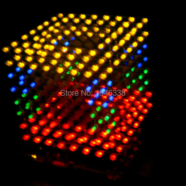DIY 3D 8S multicolor Light cubeeds LED DIY KIT With Animation / 8 8x8x8 3D LED /Kits/Junior,3D LED Display,Christmas Gift