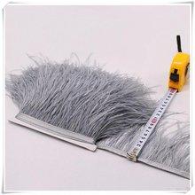 Серый обрезки из натуральных перьев страуса Высота 10-13 см Перья ленты для DIY свадебное платье украшения Ремесло серый черный