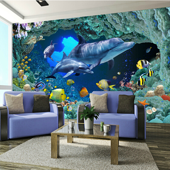 Large Custom Mural Sea World Murals 3d Cartoon Murals Vinyl Wallpaper for Child Baby room 3d Wall Photo Murals 3d Wall Fresco 3d custom the house full of romantic love sea murals large mural peacock bedroom wallpaper tv wall wallpaper