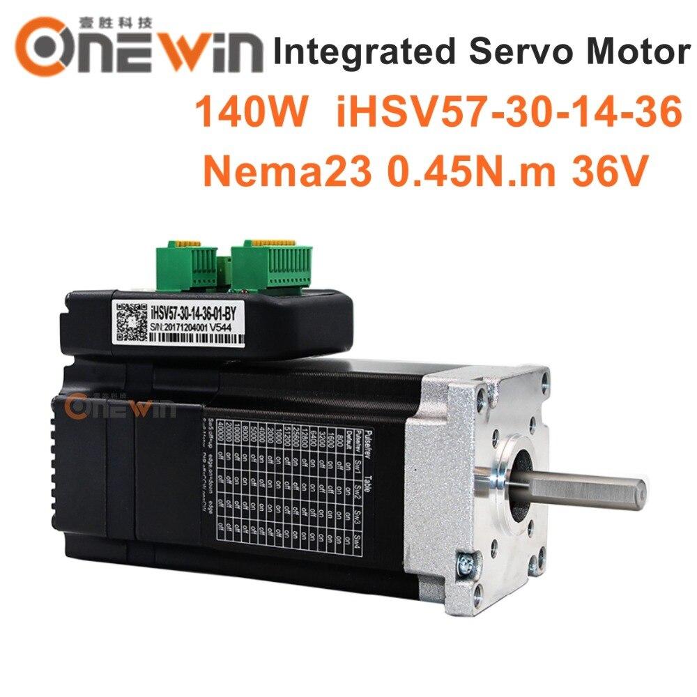 цена на JMC 140W NEMA23 Integrated Servo Motor 3000rpm 36V 0.45Nm iHSV57-30-14-36
