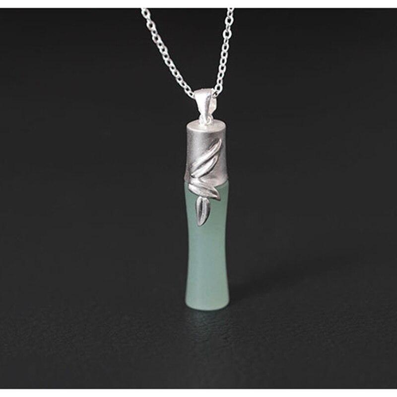 Original design folk custom accessories pendant necklace female 925 sterling silver DIY handmade bamboo Inlaid jade necklace