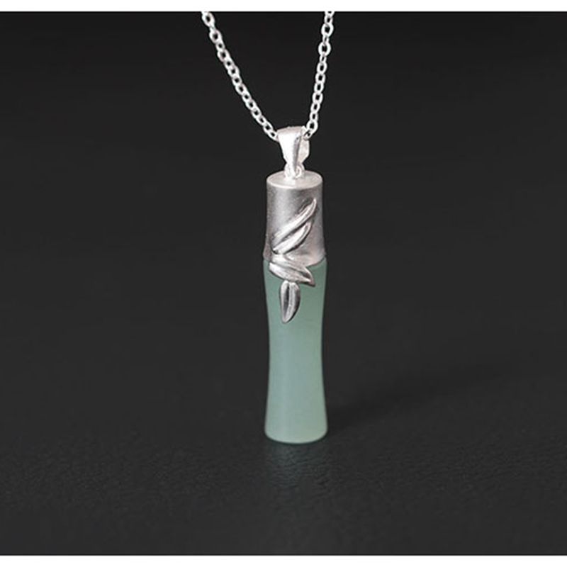 Original design folk-custom accessories pendant necklace female 925 sterling silver DIY handmade bamboo Inlaid jade necklace