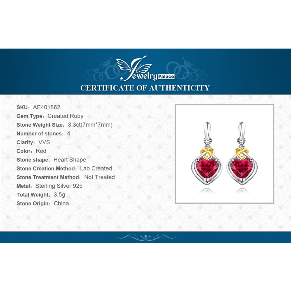 SmyckenPalace Love Knot Heart 3.4ct Skapad Red Ruby Anniversary Drop - Fina smycken - Foto 6