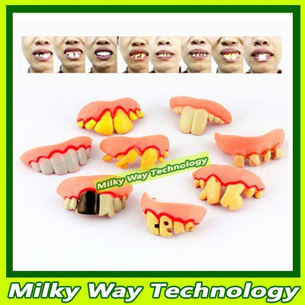 FREE SHIPPING Halloween Party Novelty Teeth Goofy Dummies Fancy Dress Fake Trick 50pcs/lot #LX06364