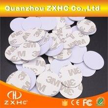 (10 unidades/lote) TK4100(EM4100) RFID 125khz 3M pegatinas monedas 25mm etiquetas inteligentes tarjetas de Control de acceso de solo lectura