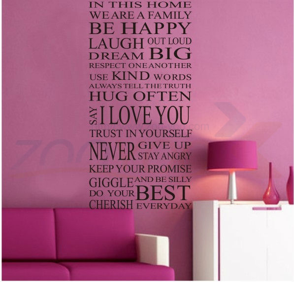 House Rules Happy Home Decor Creative Quote Wall Decal Zooyoo - House rules wall decals