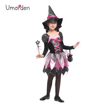 Umorden New Arrival Halloween Costumes for Girl Dazzling Witch Costume Cosplay Party Carnival Fantasia Dress Wand Bag