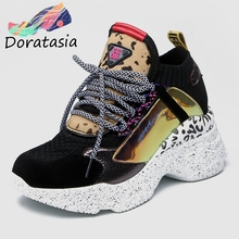 DORATASIA 2019 New Spring Genuine Cow Leather Sneakers Female Lace Up Horsehair Decoration Casual Shoes For Ladies Shoes Woman