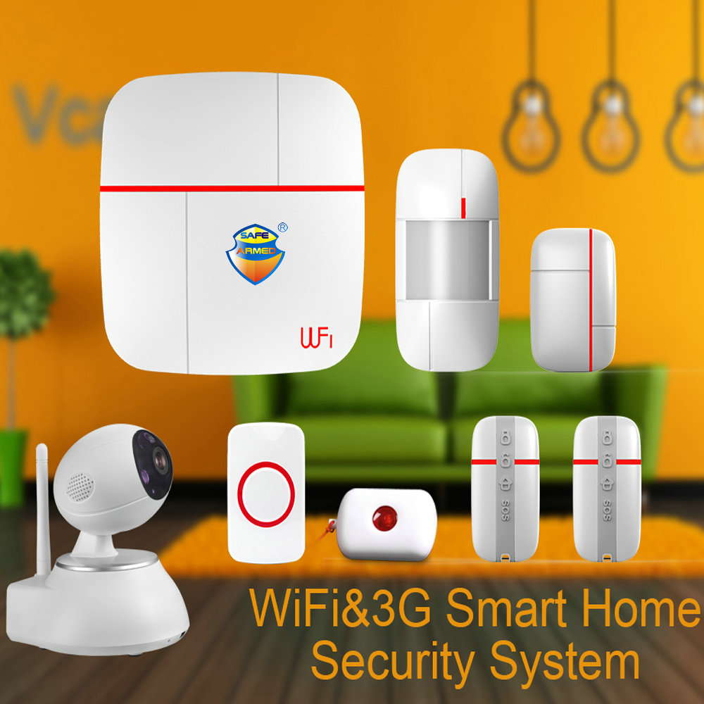 (1set) Vcare WIFI 3G WCDMA Data Stream Smart for Home Alarm System with Motion Door/Window Sensor Medical Emergency Button Ver B